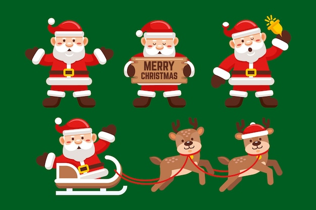 Santa claus character collection in flat design Free Vector
