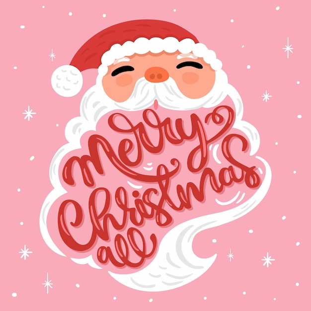 Santa claus character with lettering Free Vector