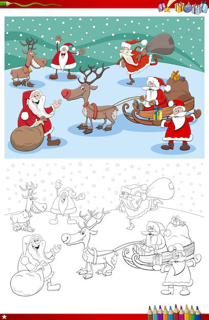 クリスマスの時間の塗り絵ページのサンタクロースのキャラクターグループ Premiumベクター