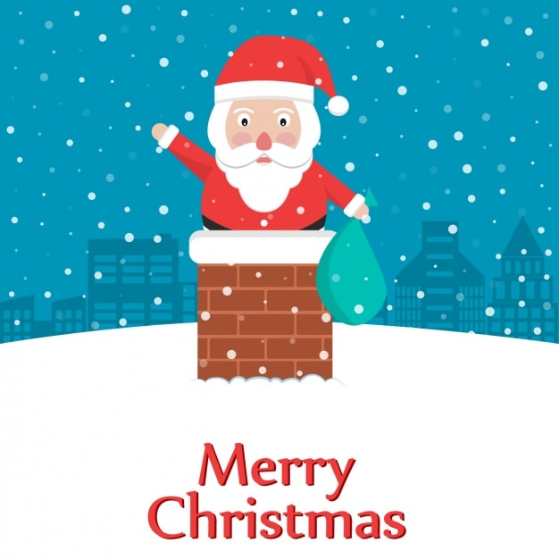 Santa claus in the chimney Free Vector