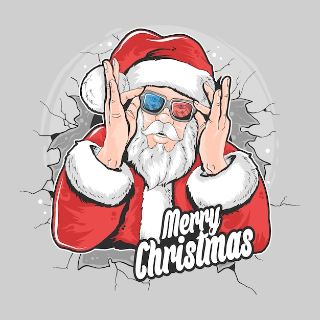 Santa claus christmas artwork element Premium Vector