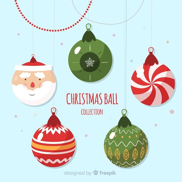Santa claus christmas balls background Free Vector