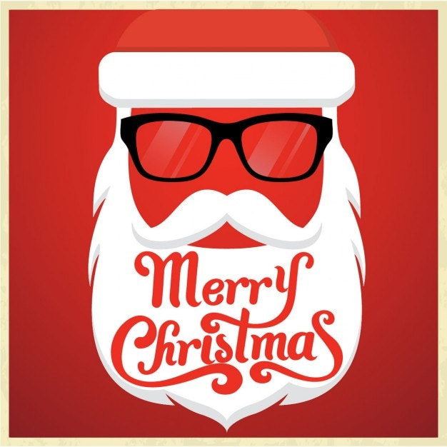 Santa claus christmas card in hipster style Free Vector