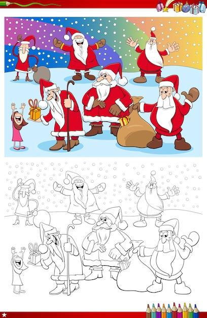 サンタクロースのクリスマスのキャラクターの塗り絵 Premiumベクター