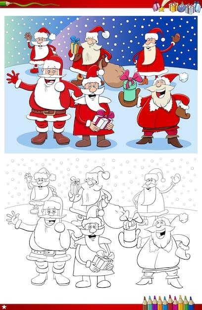 サンタクロースのクリスマスキャラクターグループの塗り絵ページ Premiumベクター