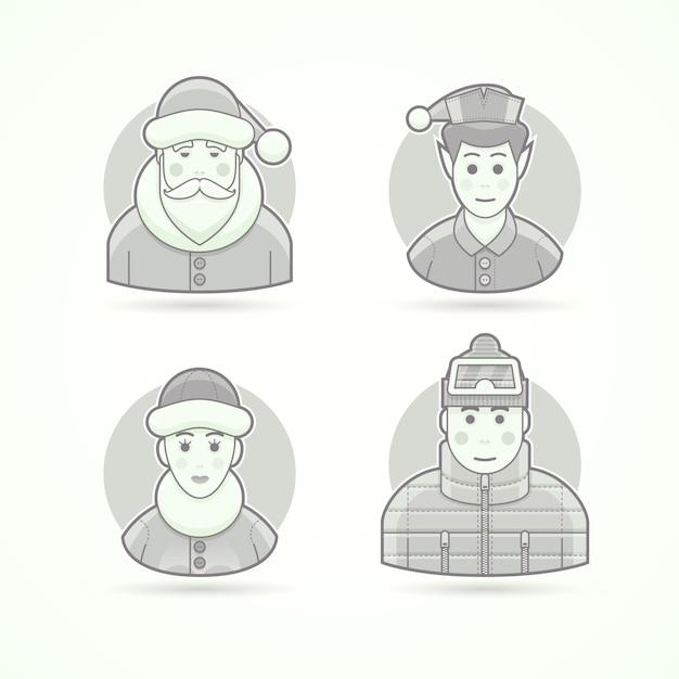 サンタクロース、クリスマスのエルフ、北極の女性、暖かい服を着た男。キャラクター、アバター、人のイラストのセットです。黒と白のアウトラインスタイル。 Premiumベクター