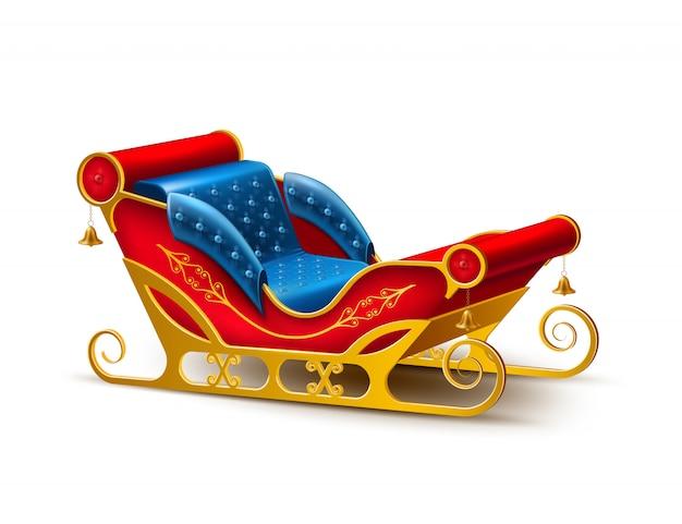 Santa claus christmas holiday sleigh Premium Vector