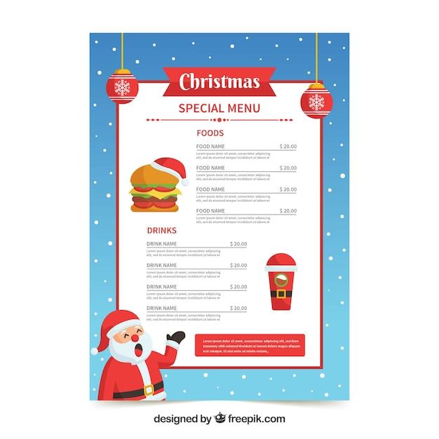 Santa claus christmas menu Free Vector