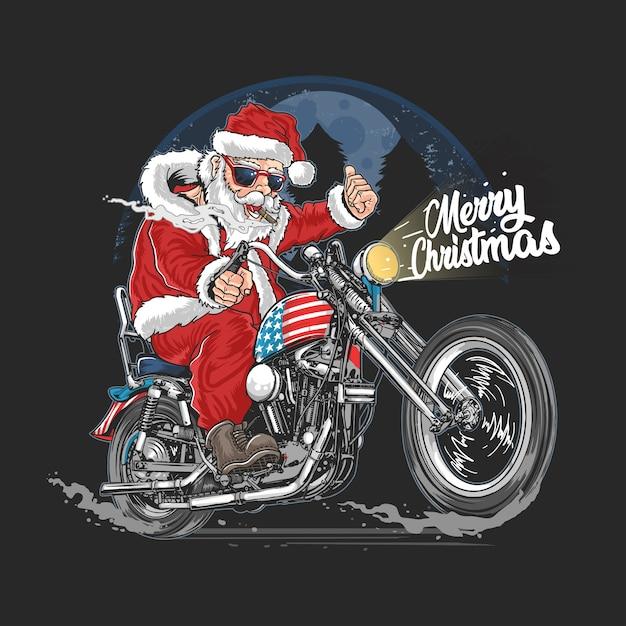 Santa claus christmas usa america tour biker motorcycle, motorbike, cooper illustration Premium Vector