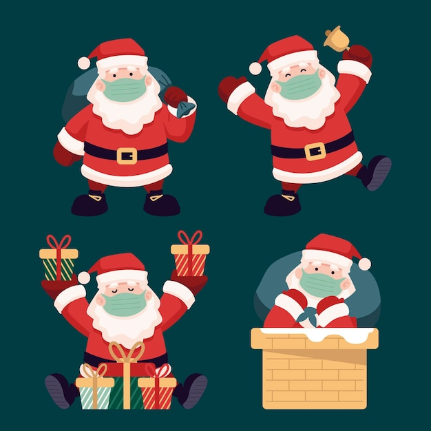 Santa claus collection wearing face mask Free Vector