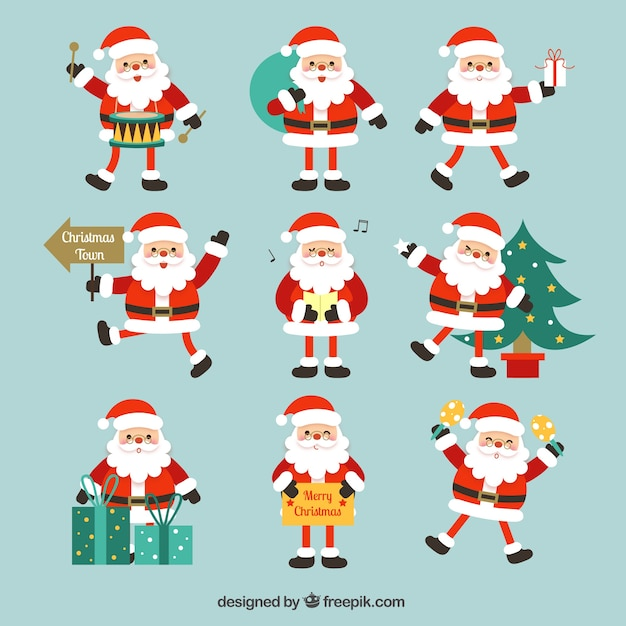 Santa claus collection with different objects Free Vector