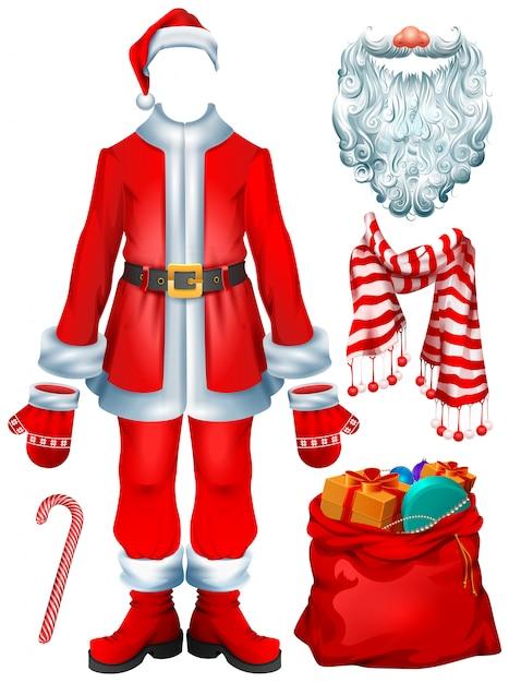 サンタクロースの衣装のドレスとクリスマスアクセサリーの帽子、ミトン、ひげ、ブーツ、ギフト付きバッグ、縞模様のキャンディー杖、スカーフ Premiumベクター