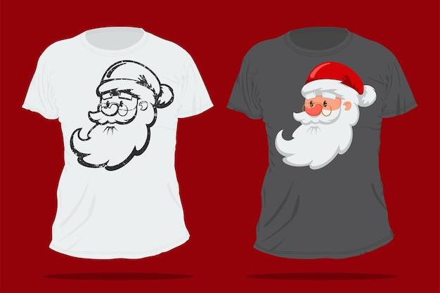 Santa claus cute cartoon head. christmas t-shirt   template. Premium Vector