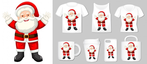 Santa claus on different product templates Free Vector