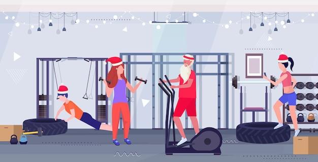 스테퍼 디딜 방아 사람들 훈련 운동 건강한 라이프 스타일 개념 크리스마스 새해 휴일 현대 체육관 인테리어에 연습을하는 산타 클로스 프리미엄 벡터