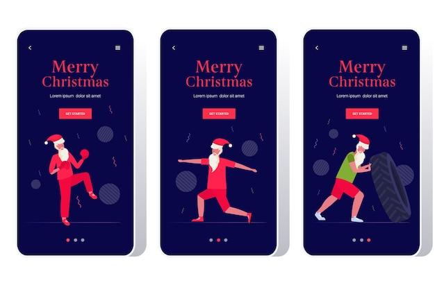 산타 클로스 하 고 신체 운동 수염 난된 남자 훈련 운동 건강 한 라이프 스타일 개념 크리스마스 새해 휴일 축 하 스마트 폰 화면 설정 프리미엄 벡터