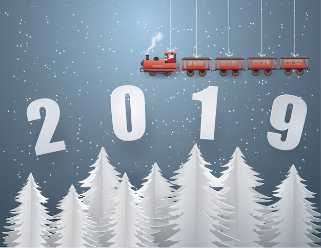 Santa claus driving the train on text  2019 Premium Vector