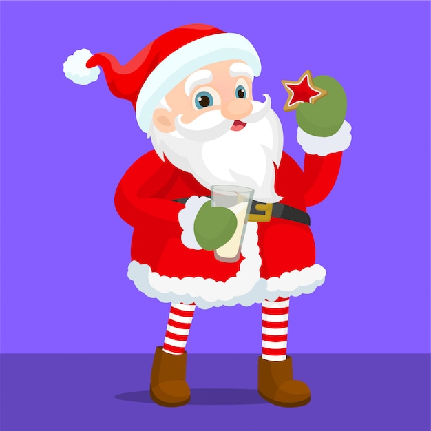Santa claus eating cookies with milk Premium Vector