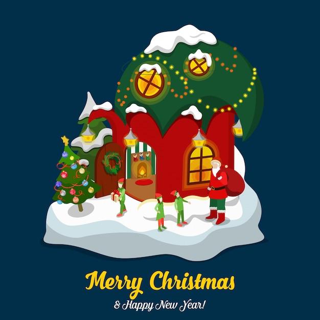 Santa claus elf magic house illustration Free Vector