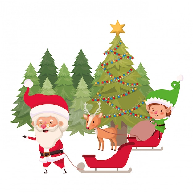 Santa claus and elf with christmas tree Premium Vector