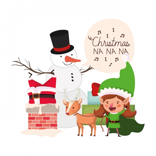 Santa claus and elf woman with snowman Premium Vector