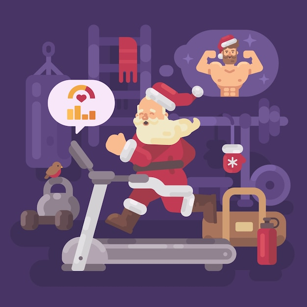 Santa claus exercising and getting into shape for christmas Premium Vector