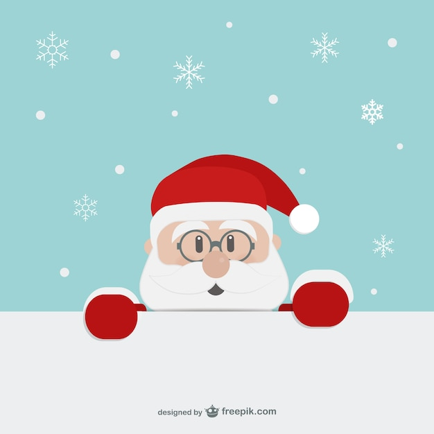 Santa Claus face cartoon Free Vector