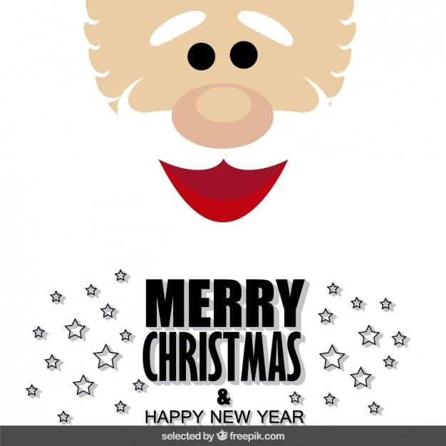 Santa claus face christmas card Free Vector