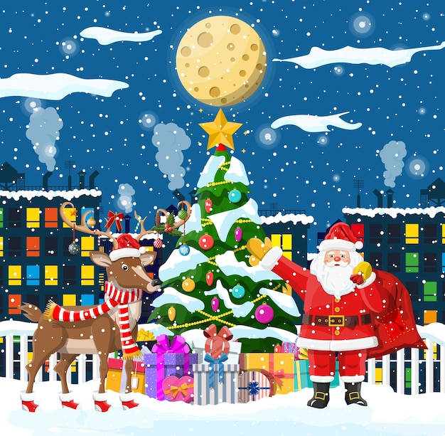 Santa claus fir tree with gifts and his reindeer Premium Vector