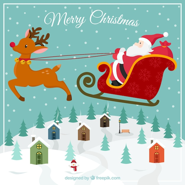 Santa Claus flying Christmas Card Free Vector