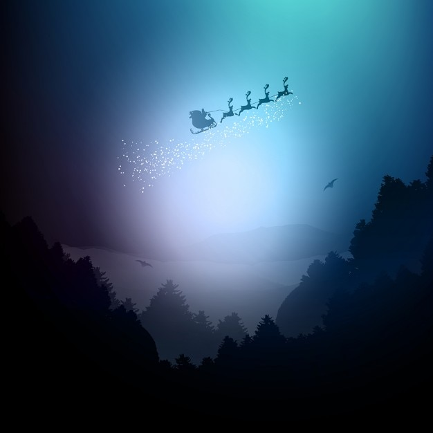 Santa claus flying in his sleigh Vector | Free Download