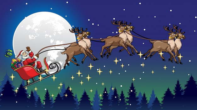 Santa claus flying ride the sleigh with reindeers Vector ...