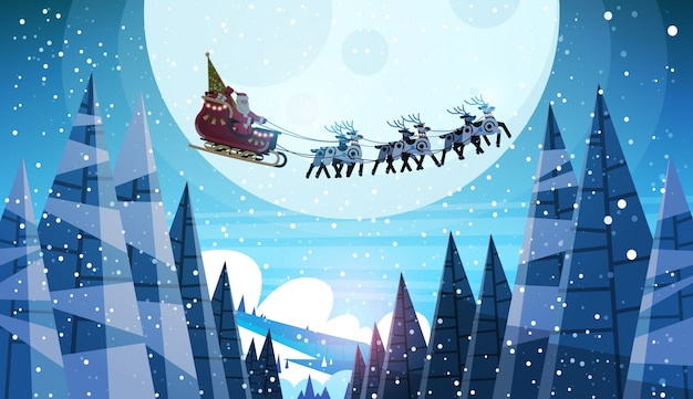Santa claus flying in sledge with reindeers night sky over moon for christmas Premium Vector