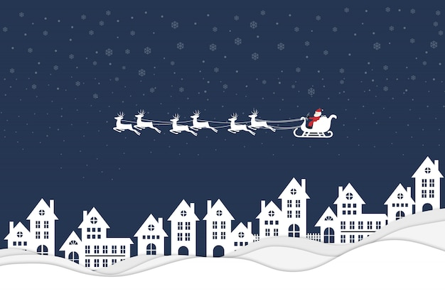 Santa claus flying over a town Premium Vector