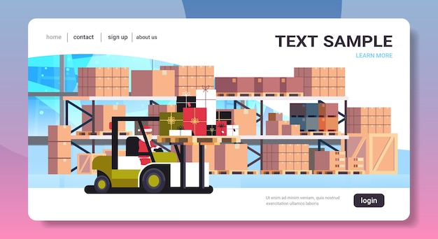 Santa claus on forklift truck loading colorful gift present boxes delivery and shipping concept merry christmas happy new year winter holidays celebration  warehouse Premium Vector