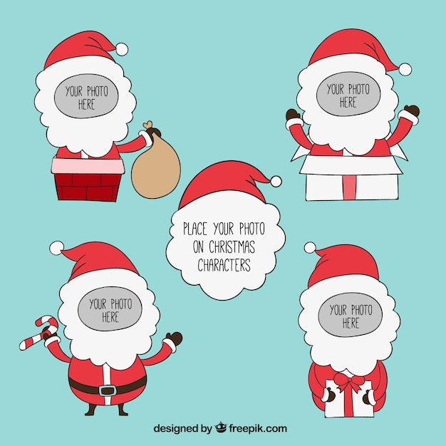Santa Claus Frames Template Vector Free Download