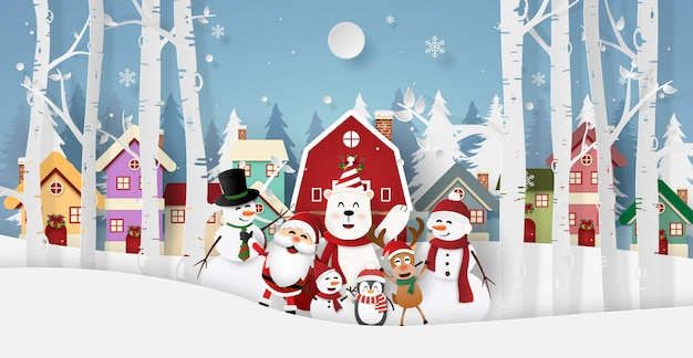 Santa claus and friends in the village for christmas party Premium Vector
