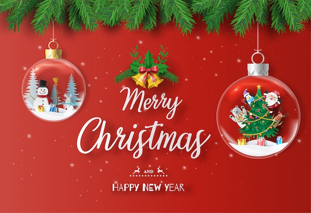 Santa claus and friends with christmas tree in xmas ball. Premium Vector