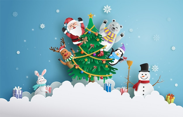 Santa claus and friends with christmas tree. Premium Vector