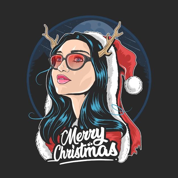 Santa claus girl deer horn use glasses Premium Vector