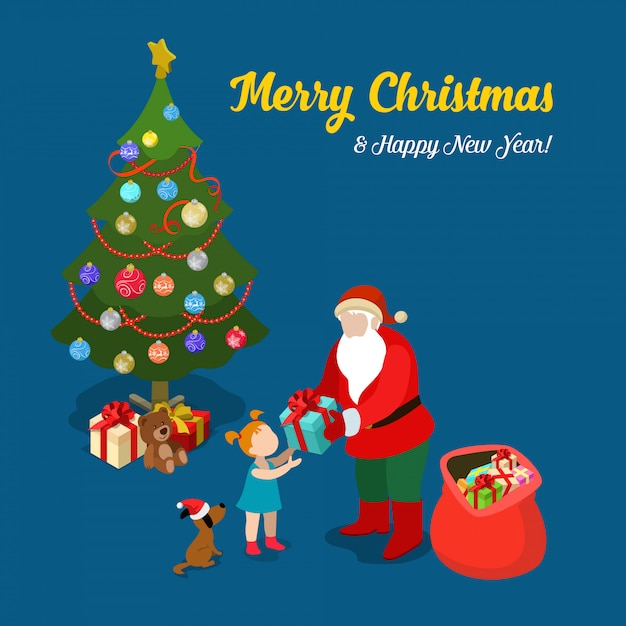 Santa claus gives present to little girl. merry christmas and new year isometric vector illustration. Free Vector