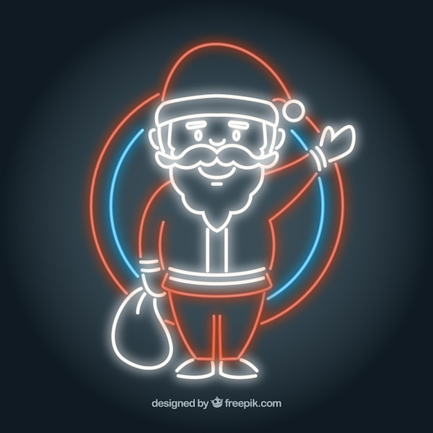 Santa claus greeting neon