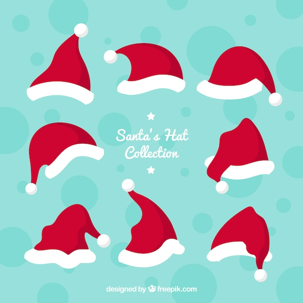 Santa claus hat collection vector free download