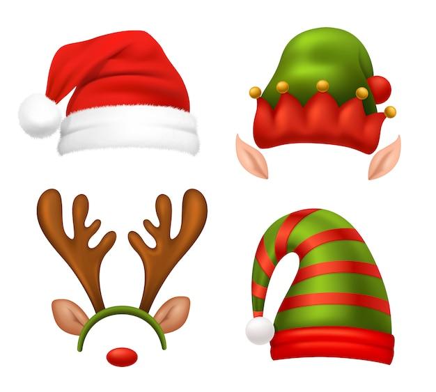 サンタクロースの帽子セット 無料ベクター