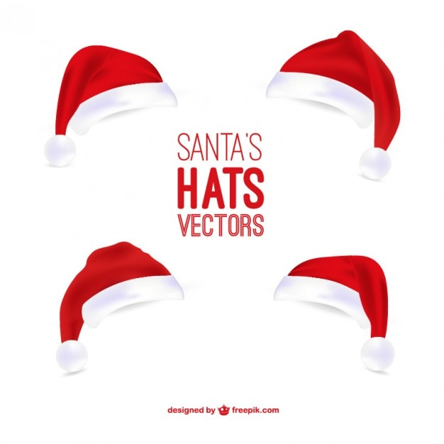 Santa Claus hats illustrations Vector | Free Download