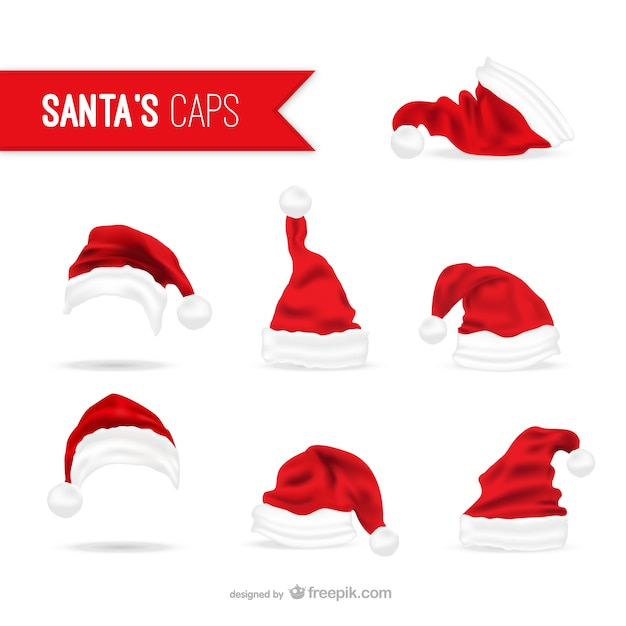 santa claus hats pack vector free download rh freepik com free santa hat vector png free santa hat vector png