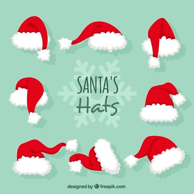 Santa claus hats Free Vector