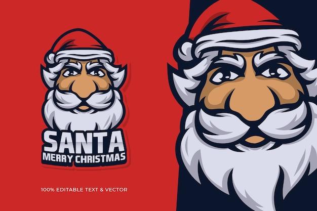 編集可能なテキストでサンタクロースの頭のクリスマスの漫画のキャラクター Premiumベクター