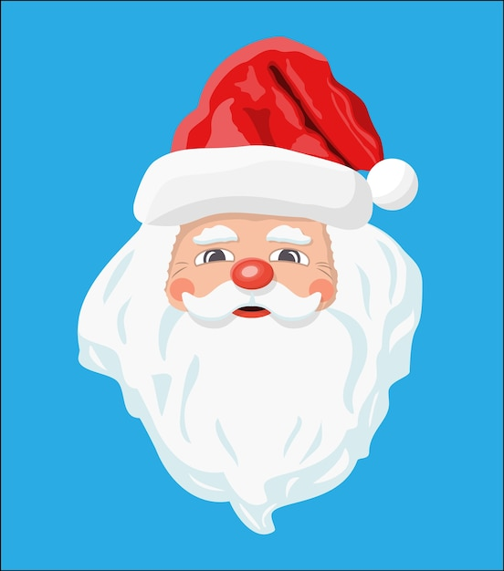 Santa claus head with beard and red hat. happy new year decoration. merry christmas holiday. new year and xmas celebration. Premium Vector