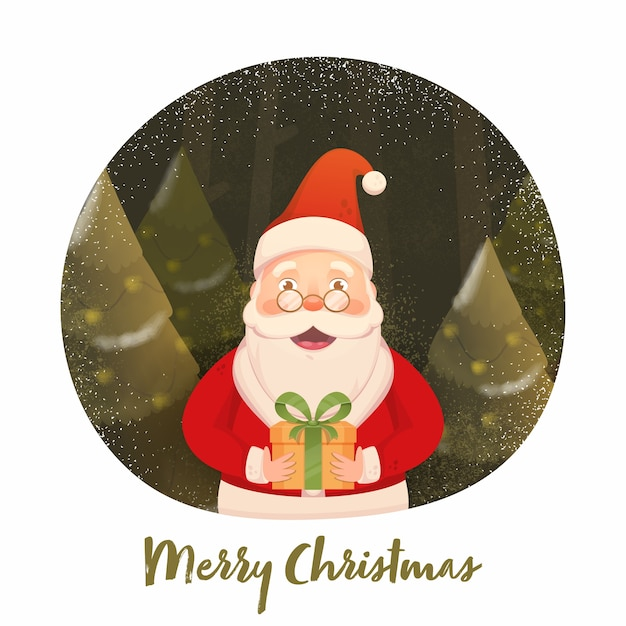산타 클로스는 메리 크리스마스에 대 한 올리브와 흰색 배경에 크리스마스 트리, 소음 효과 및 눈 선물 상자를 들고. 프리미엄 벡터